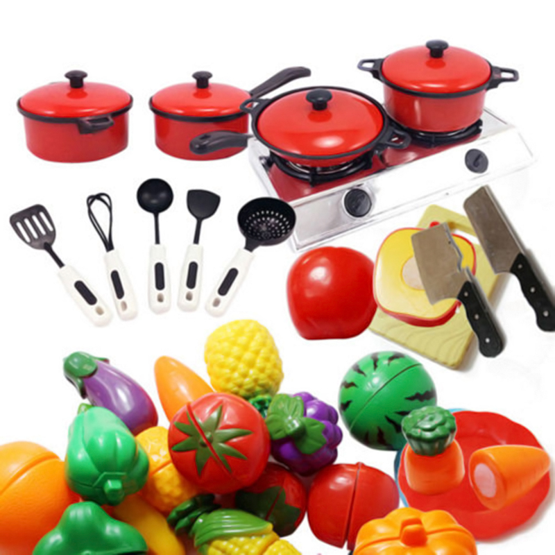 Kids Play House Toy Kitchen Utensils Pans Food Dishes Cookware Cooking Simulation Model Kitchen Pretend Play Set Educational Toy