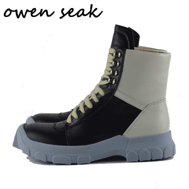 18s Owen Seak Men Boots Cow Genuine Leather High TOP Luxury Trainers Winter Snow Boots Casual