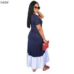 VAZN 2018 New Arrive Famous Brand Women Casual Dress Solid  O-Neck Short Sleeve Loose Maxi Dress Vestido SMR8872 2