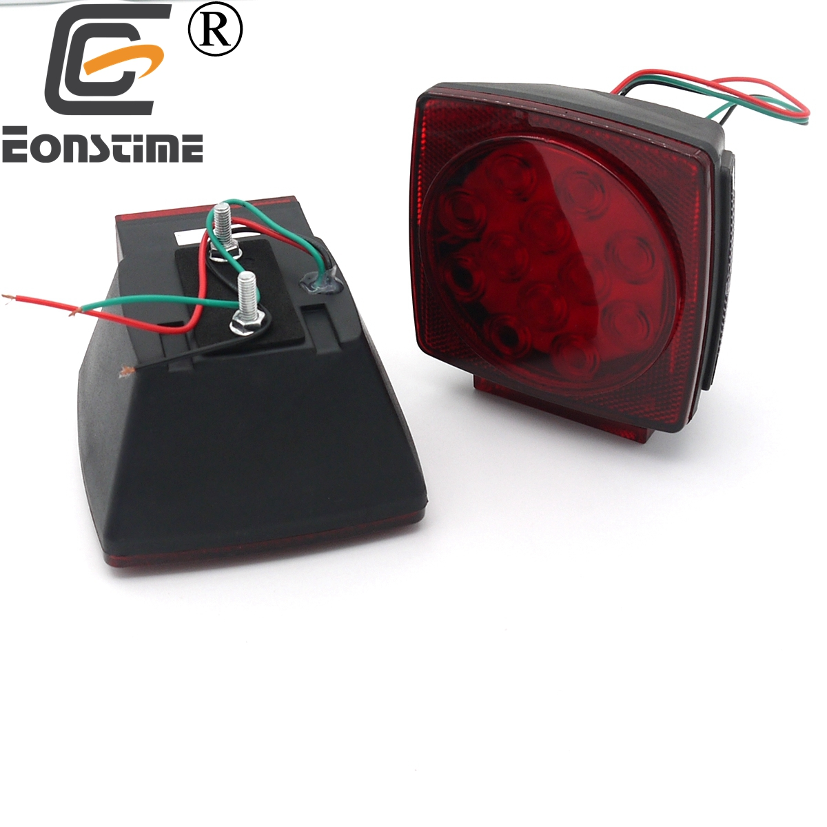 Eonstime 2pcs 12V Red/White Car LED Rear Stop Tail Lights Camper Side Marker Truck Trailer Boat Brake License Light 2pcs 20 led car truck red amber white led trailer waterproof tail lights turn signal brake light stop rear lamp dc 12v cy798 cn