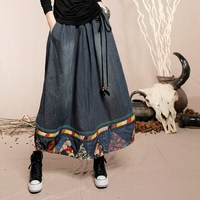 BOSHOW Webcasts Autumn National Trend Pattern Fabric Xiecha Bags Denim Full Dress