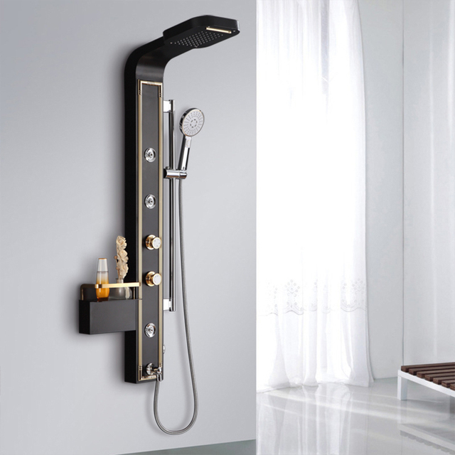 Gentil Stainless Steel Wall Mounted Shower Panel,6 Function Rainfall Waterfall  Handle Shower Massage Jets