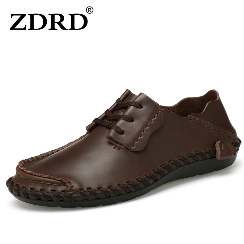цены ZDRD men's handmade Casual Genuine Leather Add cotton warm Loafers shoe Male oxford shoes comfortable boat shoes Big size 38-48