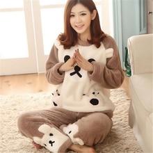 Mulheres de outono e Inverno Pijamas Conjuntos de Espessura Coral de Veludo Quente Terno de Flanela Sleepwear Calças de Manga Longa Urso Animal Dos Desenhos Animados do  Feminino