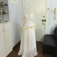 2015 New Arrival Elegant Backless Long Sleeves Lace Wedding Gown 473