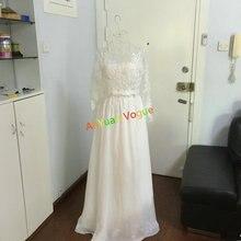 Распродажа ~~ элегантный спинки одежда с длинным рукавом Кружева шифоновое свадебное платье C473