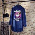 2017 New Blue Denim Trench Coat para Las Mujeres Más El Tamaño 3XL 4XL 5XL Patrón de Caracteres Sueltos Estilo Largo ropa de Abrigo Trench QYL117