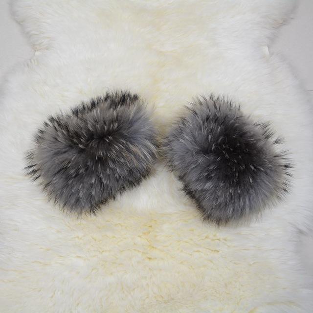 S1405 Mujeres Real de piel de mapache de la manga puños anillo Para las chaquetas de moda