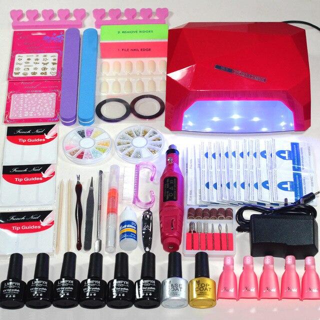 36w Uv Lamp 6 Color Soak Off Gel Nail Top Coat Polish Kit Manicure