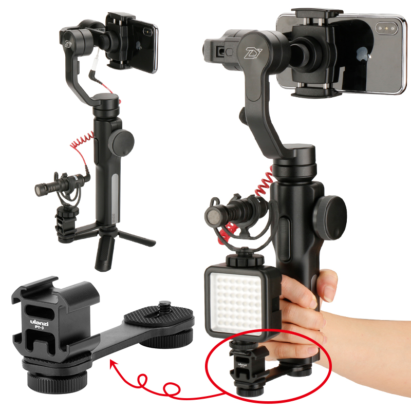 Image 2 - Ulanzi PT 3 Triple Hot Shoe Mount Adapter Microphone Extension Bar for Zhiyun Smooth 4 DJI Osmo Pocket Gimbal Accessories-in Photo Studio Accessories from Consumer Electronics