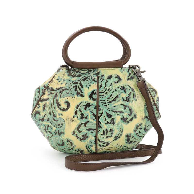 genuine leather women flower pattern handbag new advanced Cow leather vintage national style Classic flower embossing women bag 247 classic leather