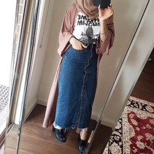 2019 Faldas 段 プラスサイズアバヤドバイイスラム教徒女性ロングデニムスカートトルコイスラムカジュアルジーンズボディコンマキシスカート