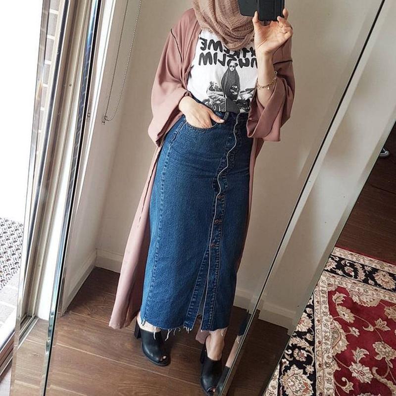 Faldas Mujer Moda 2019 Plus Size Abaya Dubai Muslim Women Long Denim Skirt Turkish Islamic Casual Jeans Bodycon Maxi Skirts