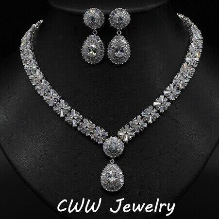 Luxury White Gold Plated Elegant Shape Bridal CZ Imitated Dis