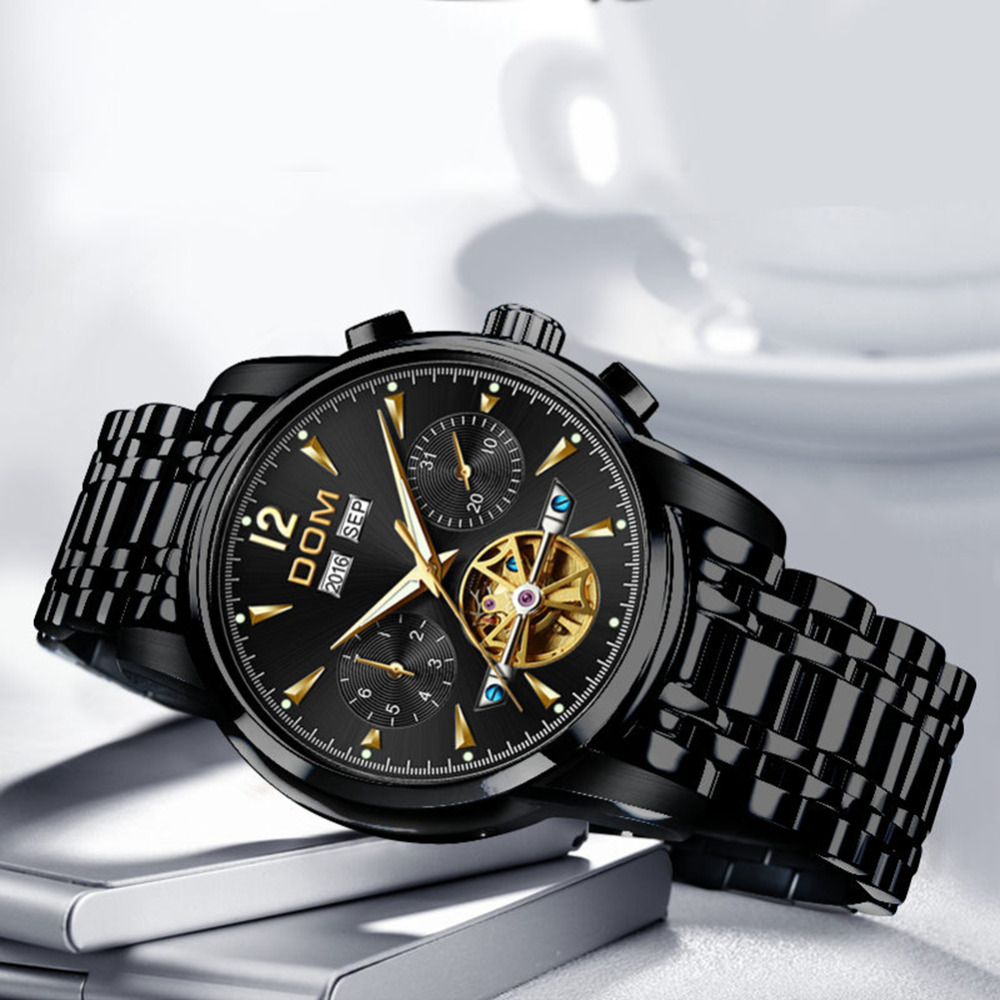 DOM Mechanical Watch Men Wrist Automatic Retro Watches Men Waterproof Black Full Steel Watch Clock Montre Homme M 75BK 1MW - 3