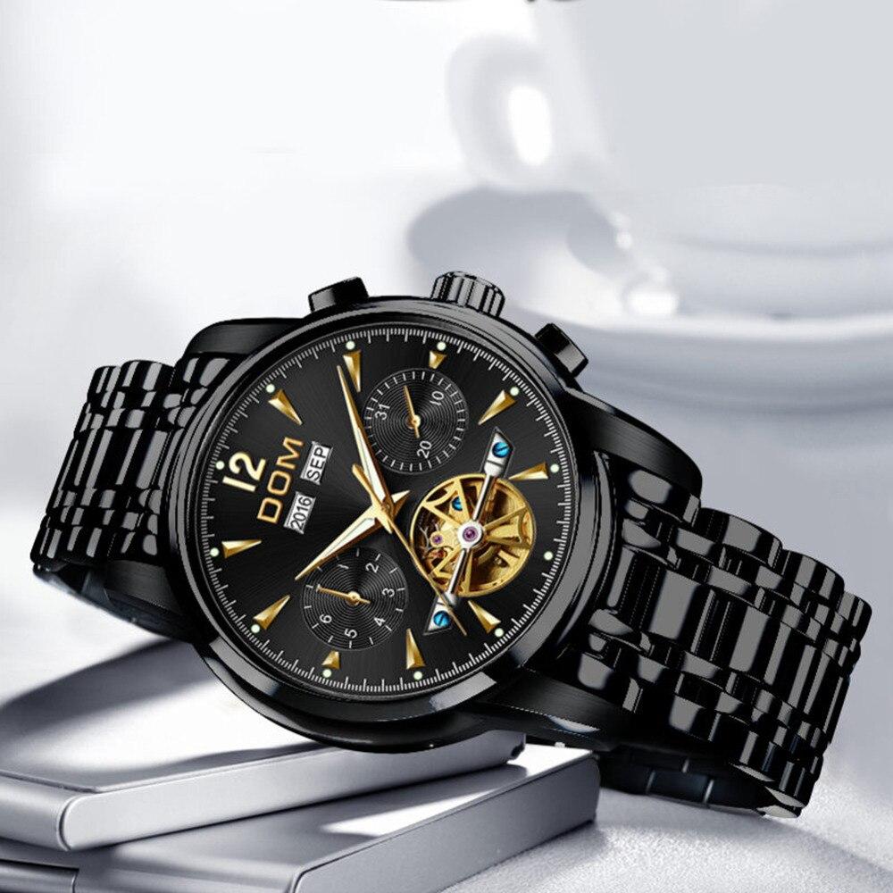DOM Mechanische Uhr Männer Handgelenk Automatische Retro Uhren Männer Wasserdicht Schwarz Voll Stahl Uhr Uhr Montre Homme M 75BK 1MW-in Sportuhren aus Uhren bei  Gruppe 3