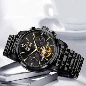 Image 3 - DOM ساعة ميكانيكية الرجال المعصم التلقائي ريترو ساعات الرجال مقاوم للماء الأسود كامل الصلب ساعة ساعة Montre أوم M 75BK 1MW