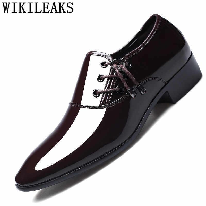 Homens sapatos de couro de patente sapatos de festa de casamento sapatos derby sapatos de oxford para homens zapatos de vestir hombre