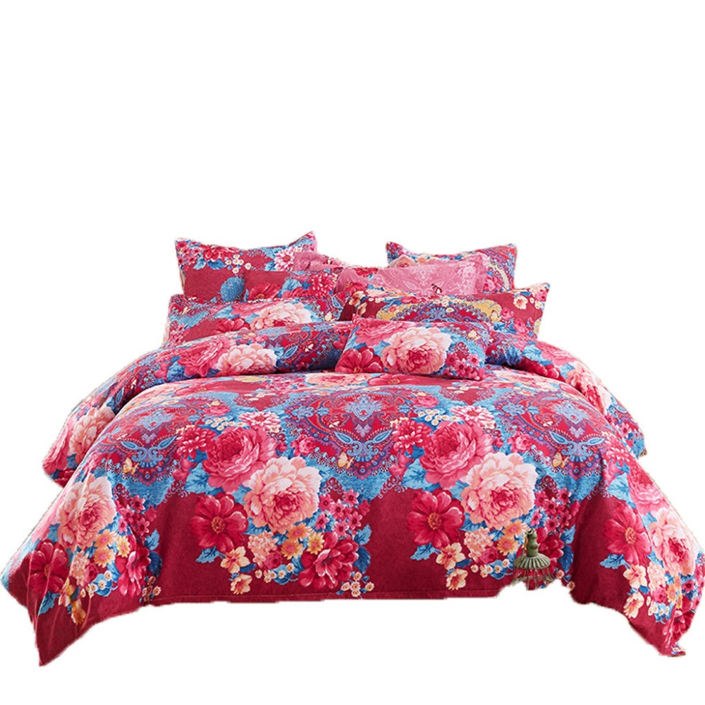 Quilt Cover Set Polyester Bed Cover Set Four Piece Bedding Tribute Cotton Pillowcase Creative Pattern Full Size L712