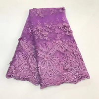 Wholesale Upscale Purple Beaded French Lace Tulle Lace African Mesh Fabric With Floral 3D Appliques Pearl