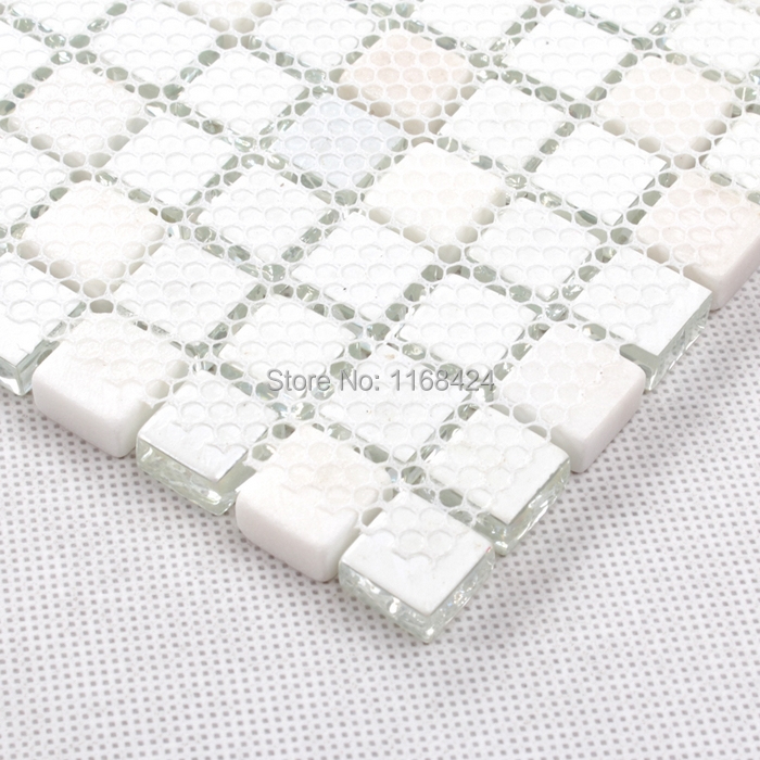 shining white color crysta glass mosaic tiles square for fireplace ...