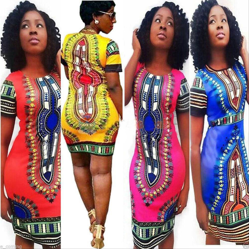 Plus Size New Fashion 2016 Summer Dress Women Traditional African Print Dashiki Bodycon Dress Sexy Short Sleeve Slim Dress summer casual bodycon dresses