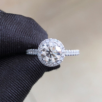 18K Au750 White Gold D color VVS 2.0ct 8.0mm Round Excellent Moissanite Diamond Ring With certificate Test Positive
