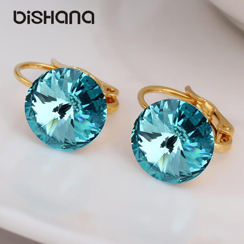 Dishana 14colors Fashion classic Elegant Gold drop earrings Austrian Cubic Zirconia SWA jewelry drop Earrings with stone(AE0421)