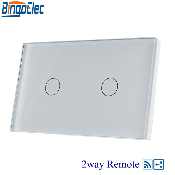 Hot sale AC110-240V Bingoelc White Glass Panel 2gang 2way Touch Remote Switch, 433mhz,110-240V,Wall light switch.Good Quality 2017 free shipping smart wall switch crystal glass panel switch us 2 gang remote control touch switch wall light switch for led