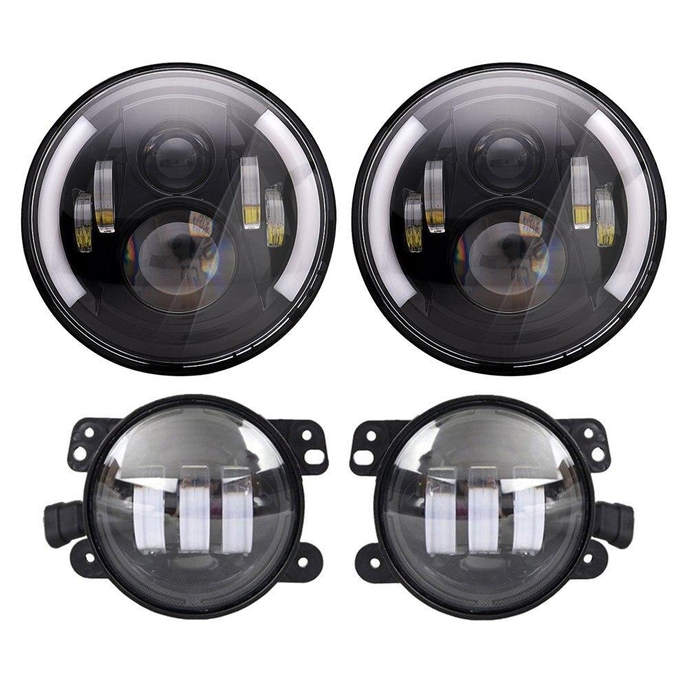 DOT Approved 120W 7'' Black Daymaker LED Headlights + 4 '' LED Fog Lights for Jeep Wrangler 97-2017 JK TJ LJ