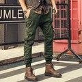 De marca para hombre pantalones casuales pantalones de carga multi-bolsillo de La Vendimia verde del ejército overol masculino 100% algodón pantalones tácticos militares 2016