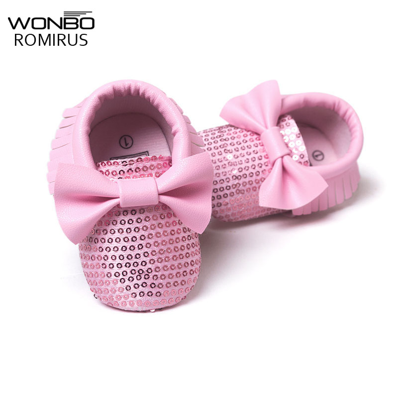 Fashion Sweet Infant Toddler Newborn Baby Girl Princess Bling Bling Big Bow First Walkers Baby Moccasins Soft Moccs Shoes 0-1T