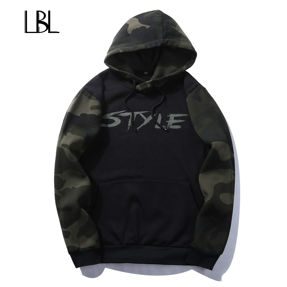 Europe Size Solid Pullover Hoodie Winter Warm Cotton Black White Gray Navy Blue Camouflage Sweatshirt Men Thick Hoodies Men 2018