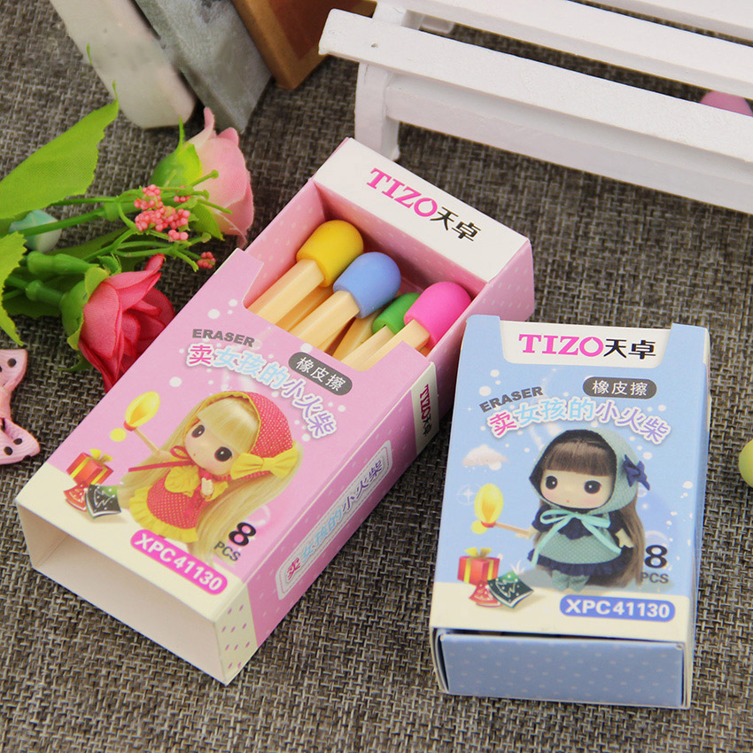 8PCS/pack New Fashion Students Candy Colors Matches Eraser Rubber Stationery Kid Gift Toy Cute Pupils Supplies