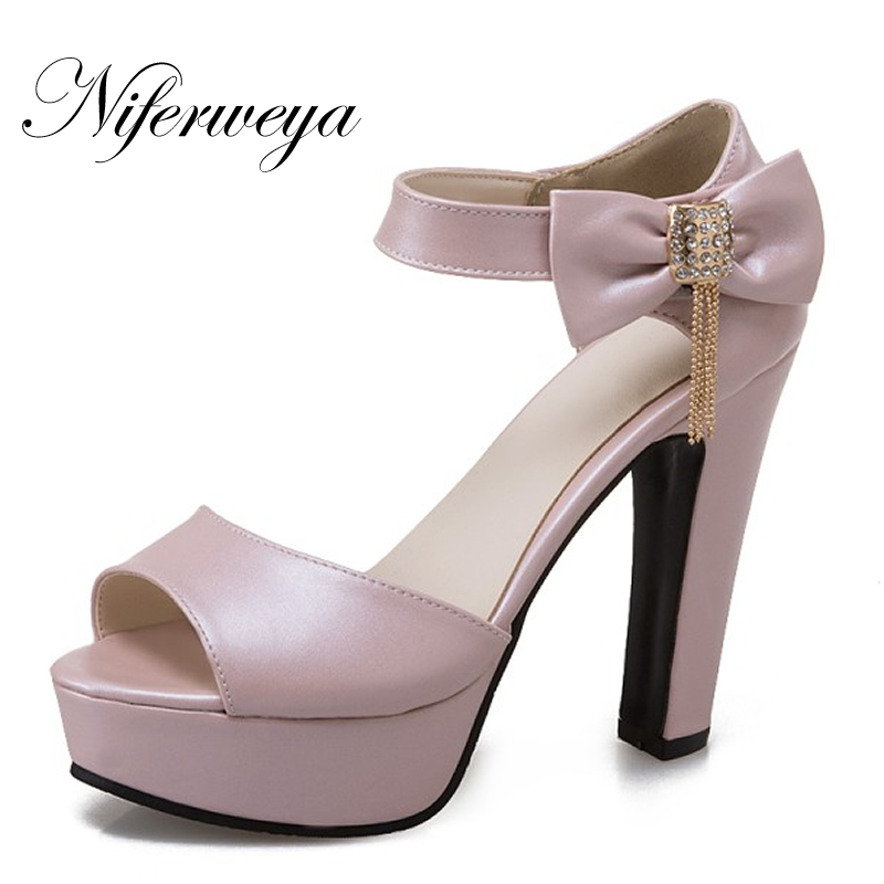 New big size 34-48 Fashion summer bowknot decoration women shoes sexy 12.5 cm Peep Toe platform thick heel high heel sandals karl lagerfeld брелок для ключей