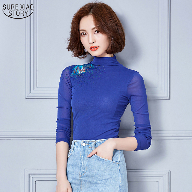 769c8d89cef New Arrival 2017 Women Blouses Fashion Style Long Sleeve Autumn Shirt Stand  Hollow Out Butterfly Shirt Plus Size Tops 800E 25