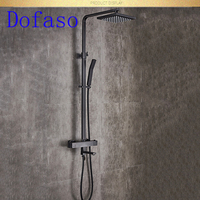 Dofaso full brass thermostatic shower black mixer shower set black bath shower faucet square tube and square head shower