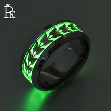 RE 8mm Luminous Ring for Men Women Butterfly 316L Stainless Steel Gold Silver Color Rings