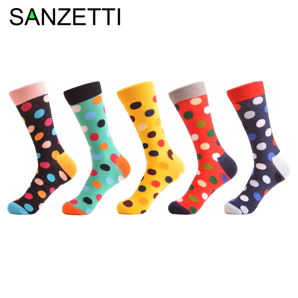 SANZETTI 5 Pairs/Lot Classic Dot Funny Pattern Colorful Mens Socks Crew Casual Combed Cotton Wedding Socks For Birthday Gifts