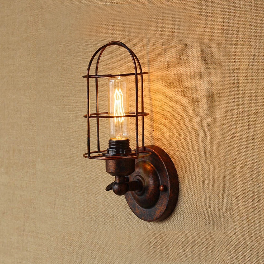 Image 2 - Vintage Industrial Wall Light,Rust Wall Lamp,светильник бра,Loft wall sconce Light Fixture,180°Adjustment,lampshade Up and downLED Indoor Wall Lamps   -