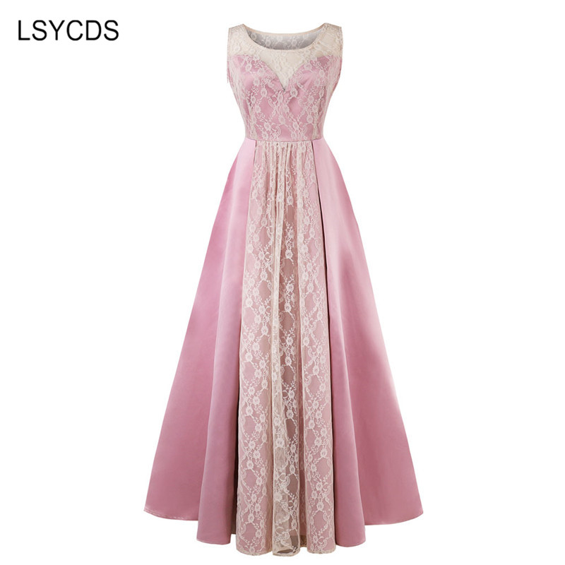 LSYCDS Long Maxi Dress 2018 Sleeveless O Neck Wedding Party Dress A line Sexy Plus Size