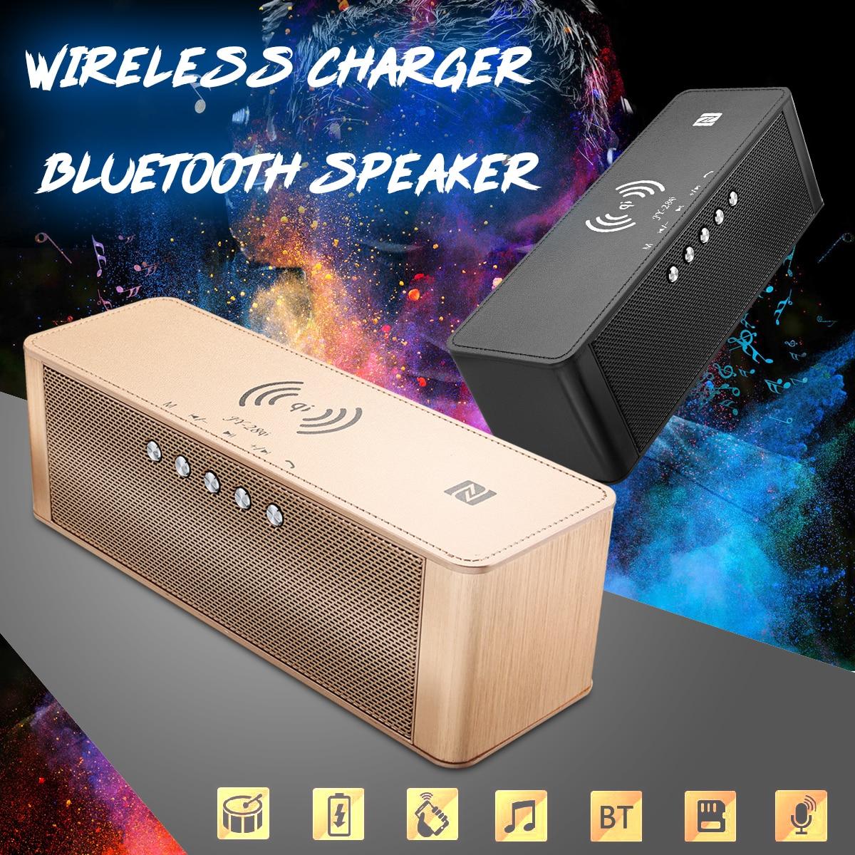 JY-28 2 dans 1 Qi chargeur sans fil rapide Universel téléphone portable Chargeurs bluetooth NFC Haut-Parleur Soutien réveil TF Carte USB AUX