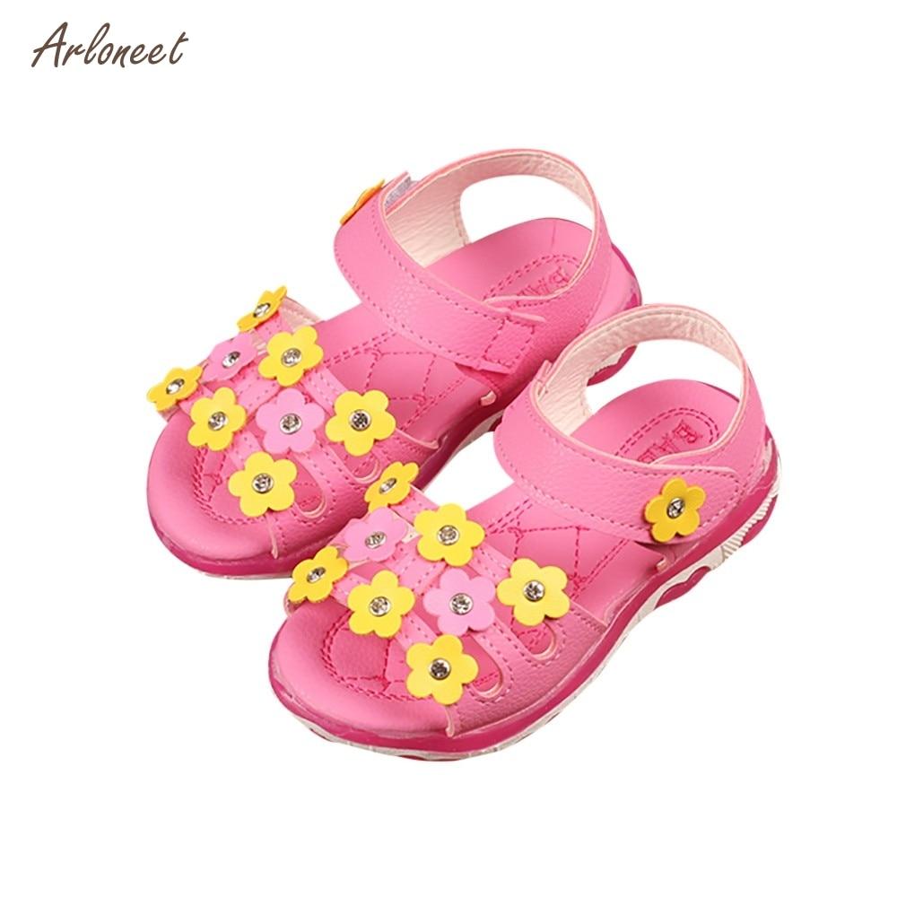 ARLONEET Для детей девочек цветок письмо светодиодный светящиеся сандалии повседневная о ...