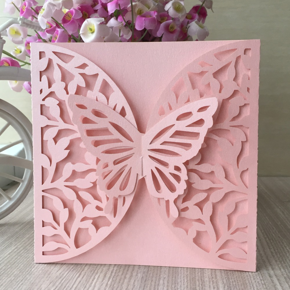 20Pcs Laser Cut Hollow Pearl paper Pretty 3D Butterfly Design Romantic  Birthday Wedding Invitation Card Greeting Blesing card| | - AliExpress