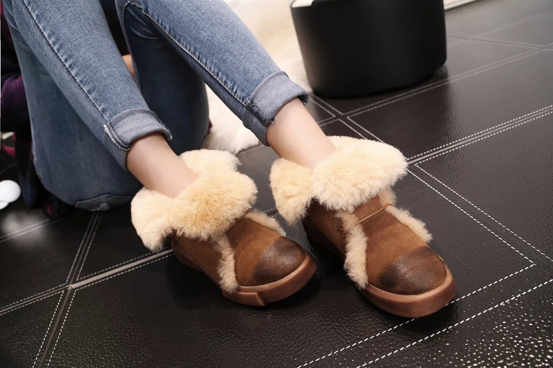 New Fashion ankle snow boots round toe flat heel fur inside lace-up warm proof boots for woman in winter high quality estee lauder spf15 15ml