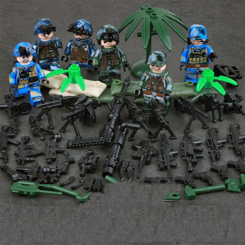 6pcs Navy Army Air Force Military WW2 SWAT Seals Team Soldiers Heavy Fire CS Building Blocks Figures LegoINGlys Toys Boys Gifts