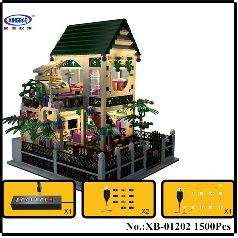 IN STOCK XingBao 01202 1500Pcs with light USB the Romantic heart of the Two floors of Building Block Bricks for children's toys two from the heart