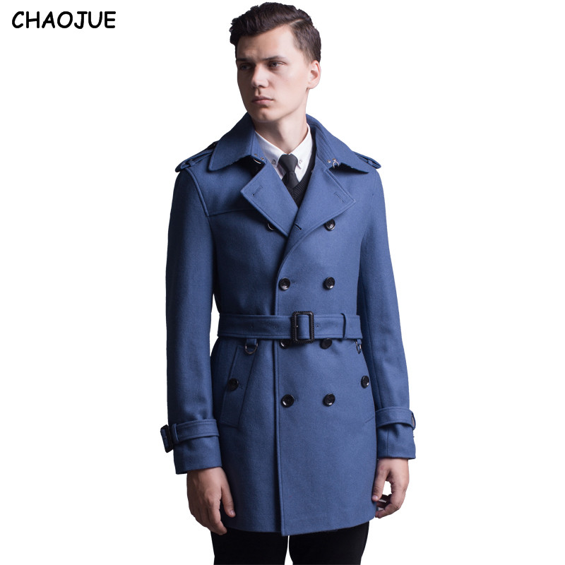 CHAOJUE Outerwear 2017 spring/autumn fashion double breasted wool coat for men England stylish blue wool trench coat jacket gift double breasted wool blend longline trench coat