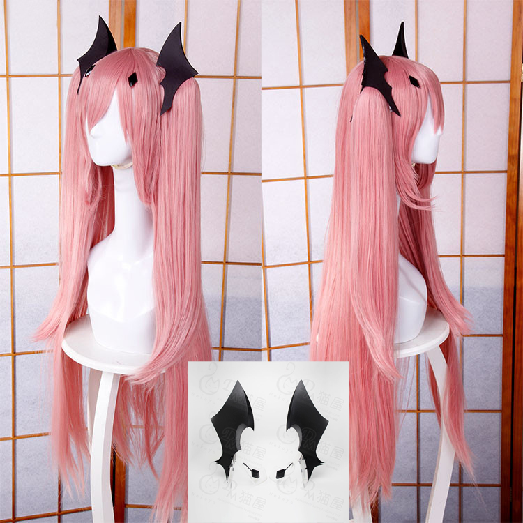 """2019 Latest Design 100cm 39"""" Long Pink Krul Tepes Heat Resistant Ponytail Hair Anime Owari No Seraph Of The End Cosplay Costume Wig + Free Wig Cap"""