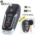 KEYECU 433 МГц G чип обновленный Флип складной 3 + 1 4 кнопки дистанционного брелока TOY43 для Toyota Highlander Aurion Camry 2006-2011 US